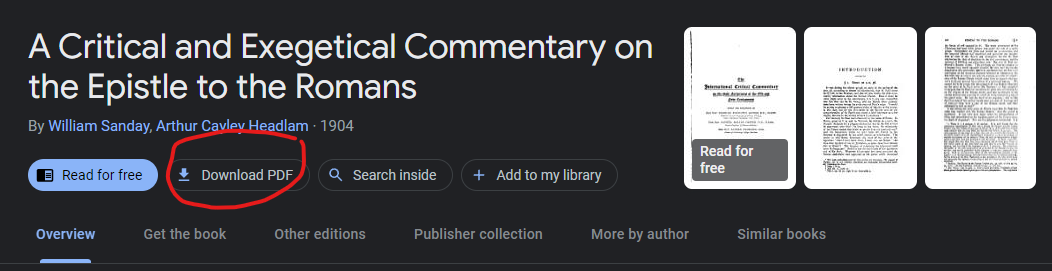 Screenshot of Google Books showing how to download Sanday and Headlam's ICC commentary on Romans in PDF
